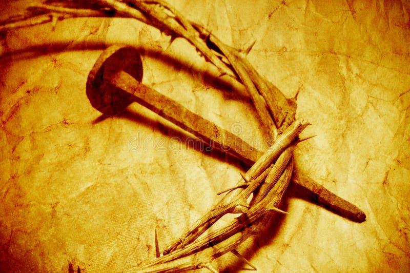 A coroa de Jesus Christ de espinhos com um efeito retro do filtro foto de stock