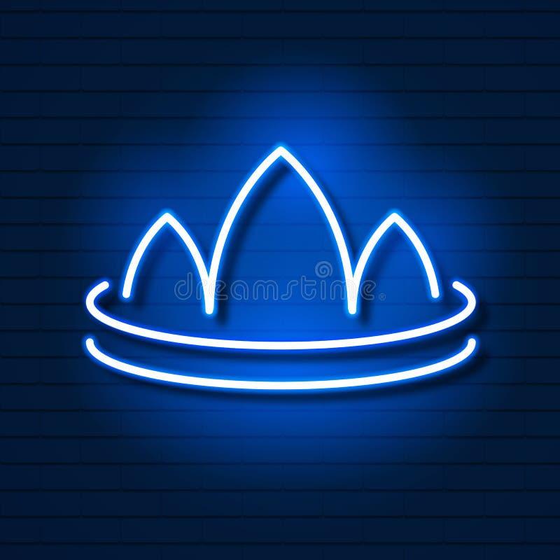 Coroa de néon no logotipo da parede de tijolo para o design web Vetor ilustração do vetor