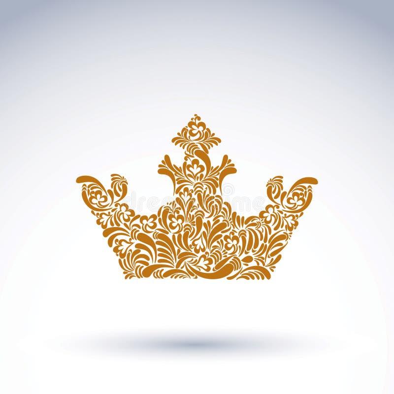 coroa decorativa Flor-modelada, símbolo real da arte Corone do rei ilustração royalty free