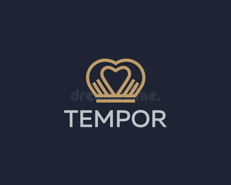 A coroa do coração entrega o logotype do vetor Projeto do ícone do logotipo da massagem do salão de beleza dos termas ilustração stock
