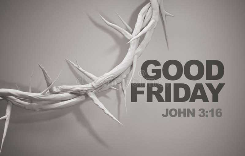 Coroa do 3:16 de John do Sexta-feira Santa da rendição dos espinhos 3D ilustração royalty free
