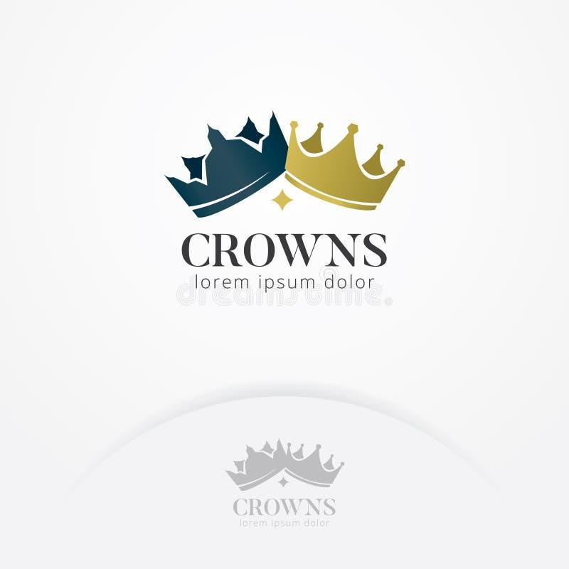 Coroa do logotipo dos reis e das rainhas ilustração do vetor
