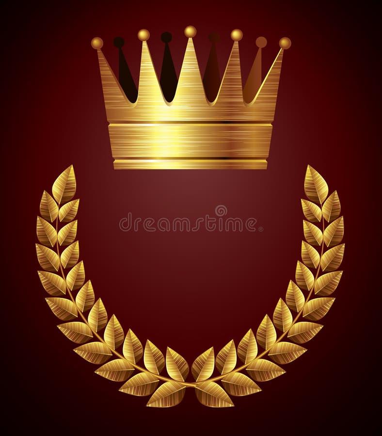 Coroa do ouro com grinalda ilustração royalty free