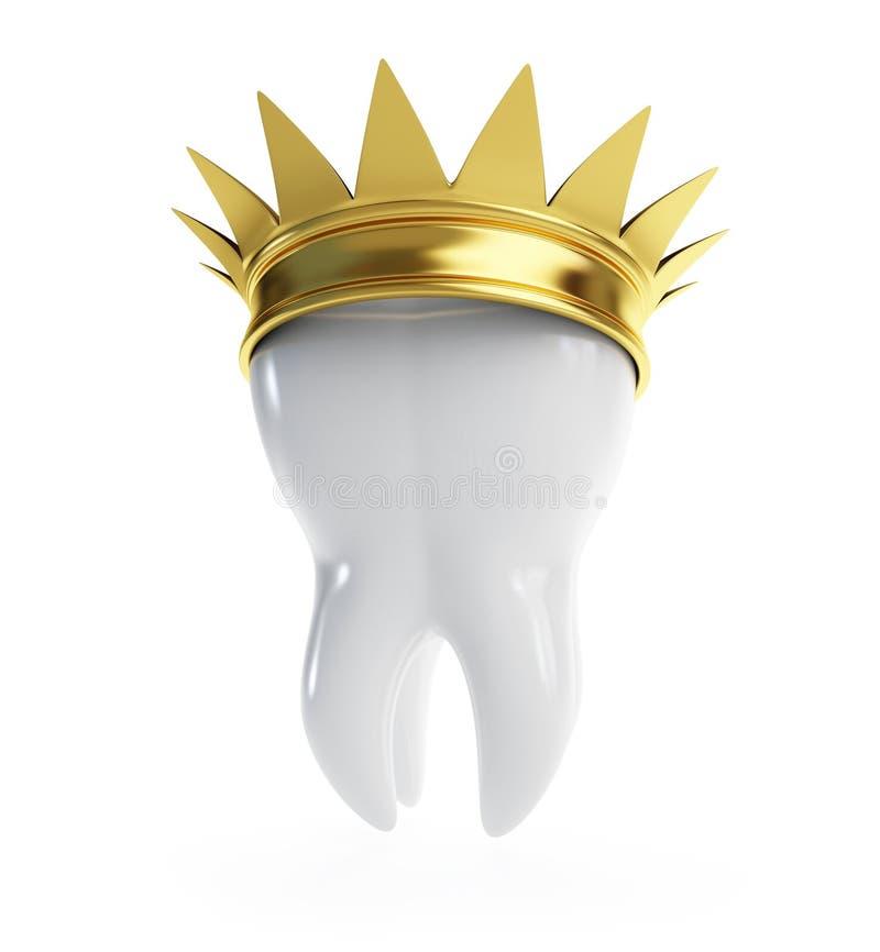 Coroa do ouro do dente ilustração stock