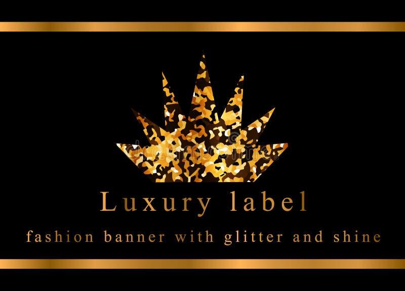 Coroa do ouro Etiqueta, emblema ou embalagem luxuosa ilustração do vetor