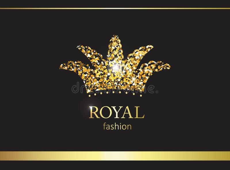 Coroa do ouro Etiqueta, emblema ou embalagem luxuosa Painel solar e sinal para a energia alternativa ilustração stock