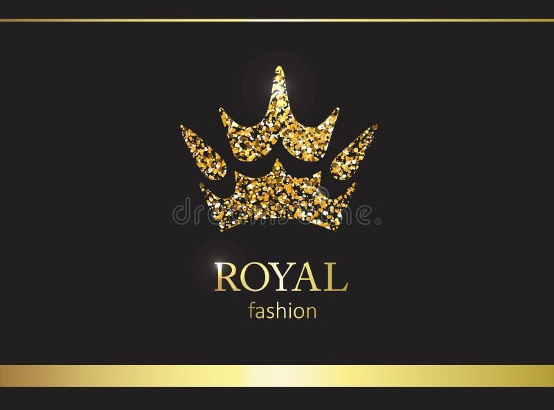 Coroa do ouro Etiqueta, emblema ou embalagem luxuosa Painel solar e sinal para a energia alternativa ilustração royalty free