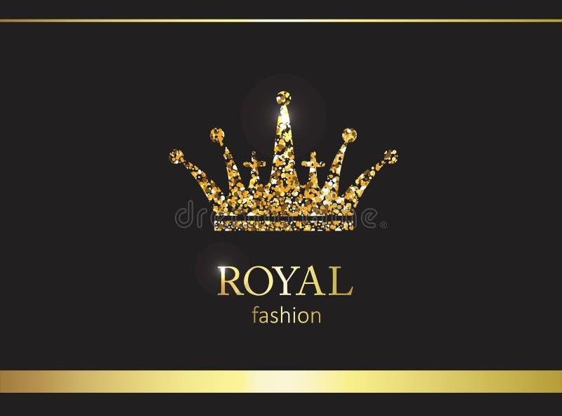 Coroa do ouro Etiqueta, emblema ou embalagem luxuosa Painel solar e sinal para a energia alternativa ilustração do vetor
