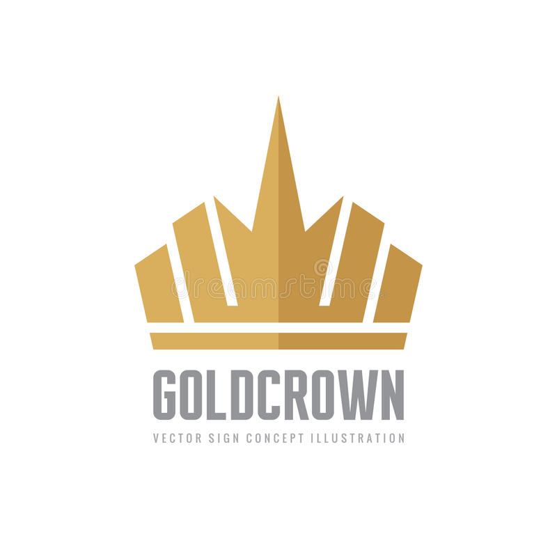 Coroa do ouro - vector a ilustração do conceito do molde do logotipo Elemento do projeto ilustração do vetor
