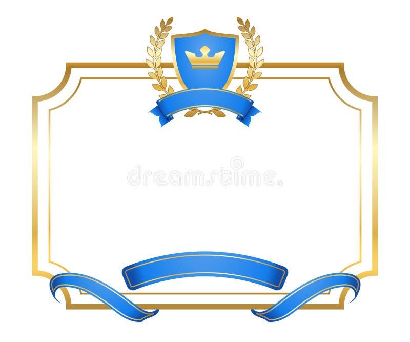 Coroa do quadro do protetor do ícone do ouro da grinalda do louro ilustração royalty free