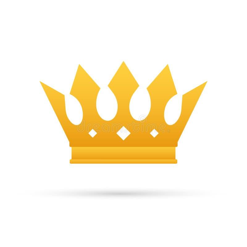 Coroa do rei isolada no fundo branco Ícone real do ouro Ilustra??o conservada em estoque do vetor ilustração royalty free