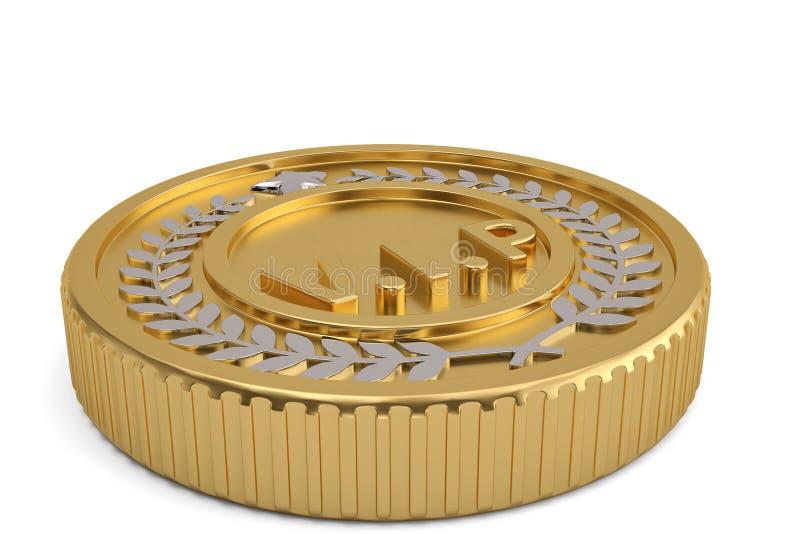 Coroa dourada com a moeda do vip no fundo branco ilustração 3D ilustração stock