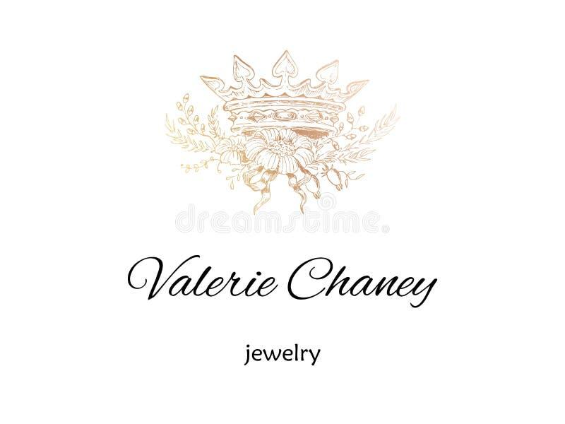 A coroa dourada com vintage das flores denominou a ilustração do vetor, o logotipo abstrato, a ideia de marcagem com ferro quente ilustração do vetor