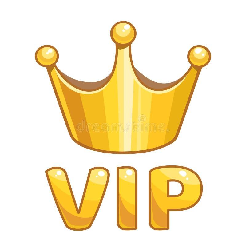 Coroa dourada com VIP do sinal ilustração stock