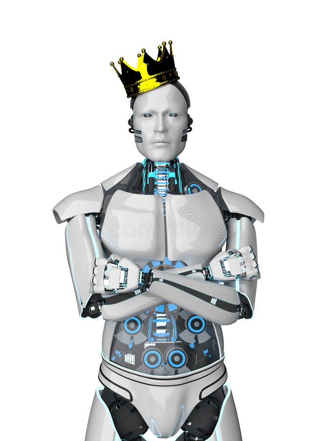 Coroa dourada do robô ilustração stock