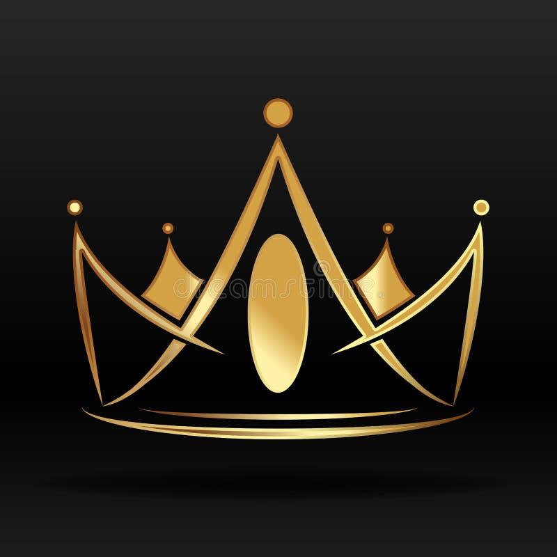 Coroa dourada para o logotipo e o projeto ilustração stock