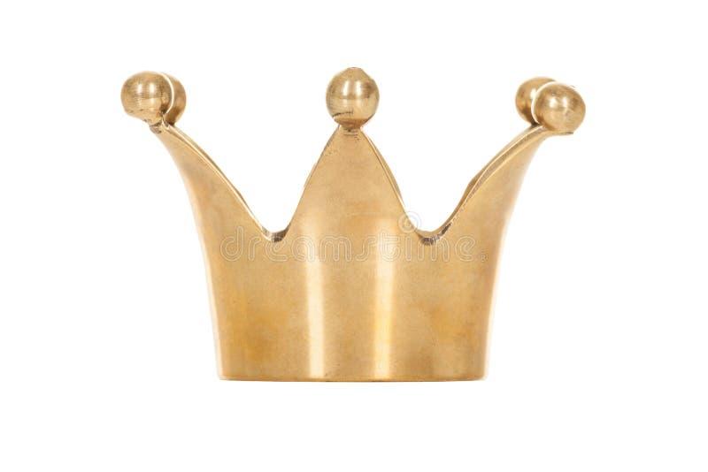 Coroa dourada real isolada no fundo branco fotografia de stock royalty free