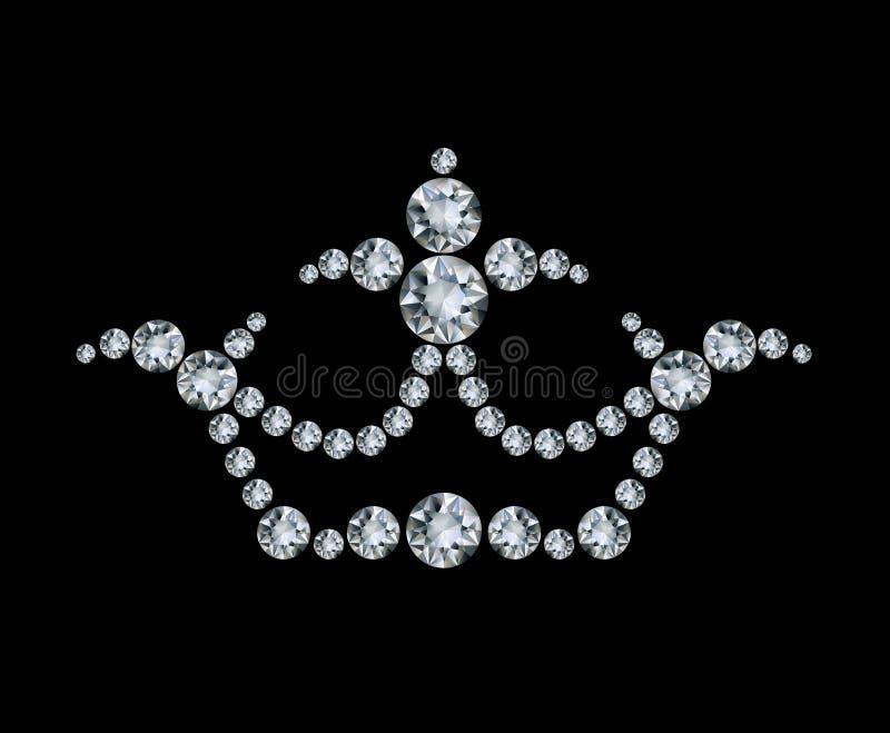 Coroa e diamantes ilustração stock