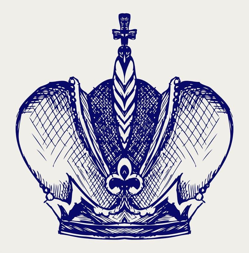 Coroa. Estilo do Doodle ilustração royalty free