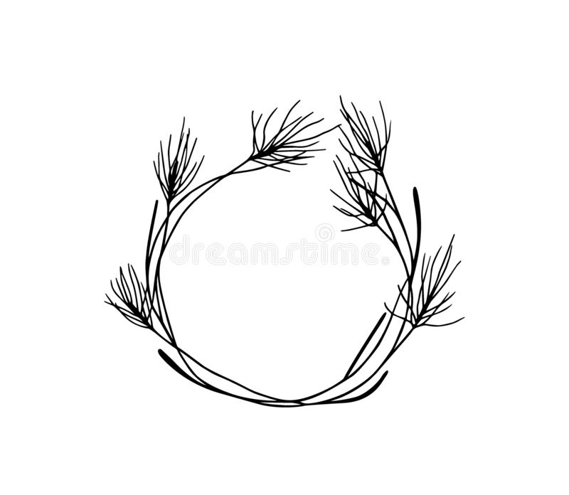Coroa floral desenhada à mão imagem de stock royalty free