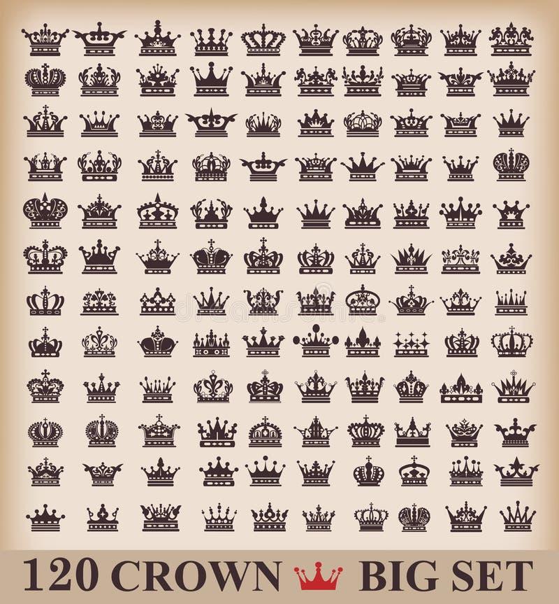 Coroa. Grupo grande. Ícones da coleção. ilustração do vetor