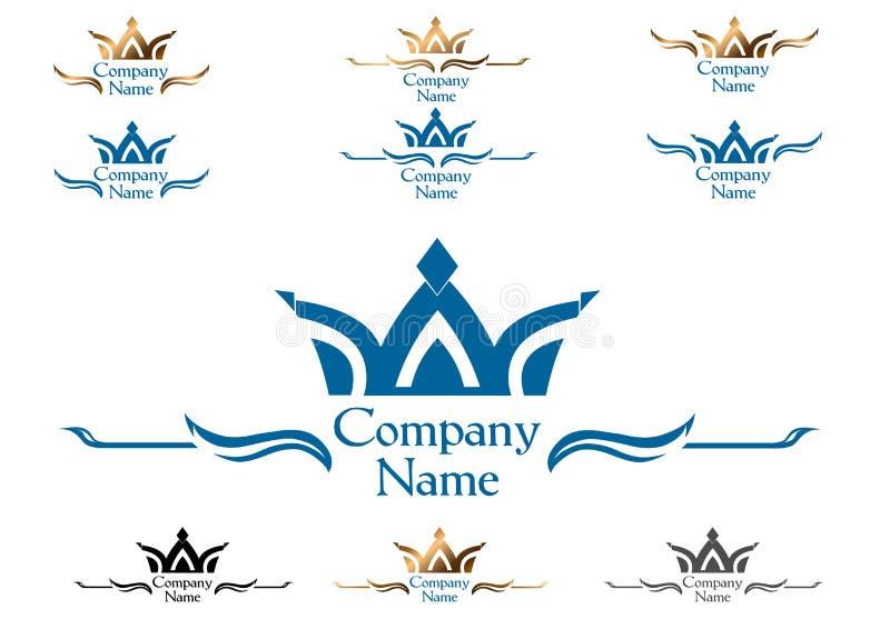 Coroa - logotipo, símbolo, emblema, sinal ilustração stock