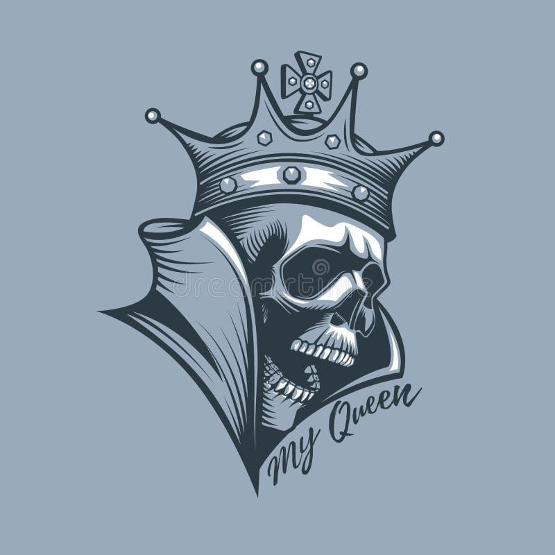 Coroa no crânio com a inscrição minha rainha ilustração stock