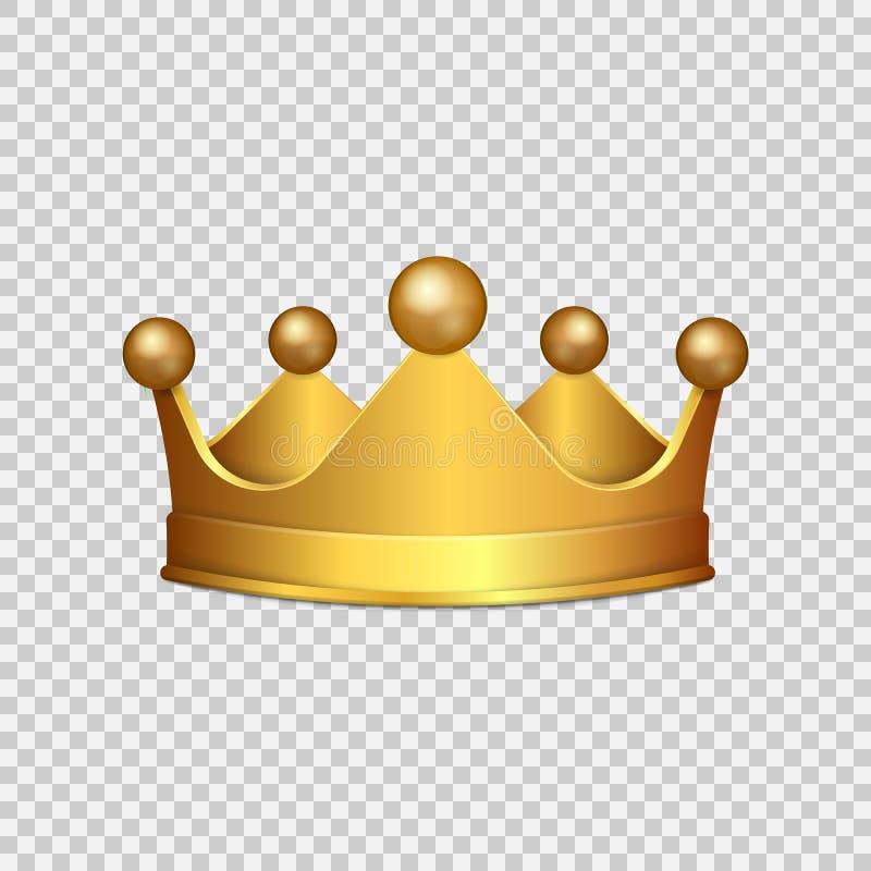 Coroa realística do ouro 3D no fundo transparente Ilustração do vetor ilustração do vetor