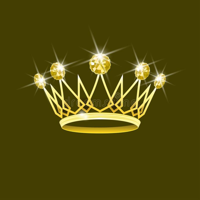 Coroa real do ouro com diamantes amarelos Símbolo dos direitos ilustração stock