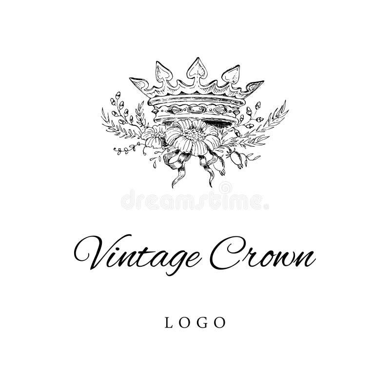 Coroa real Logo Template ilustração do vetor