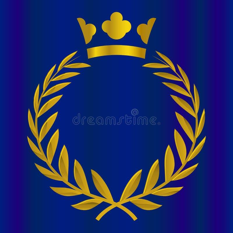 Coroa real na cor do ouro Vitória, honra, ilustração do vetor da qualidade ilustração stock