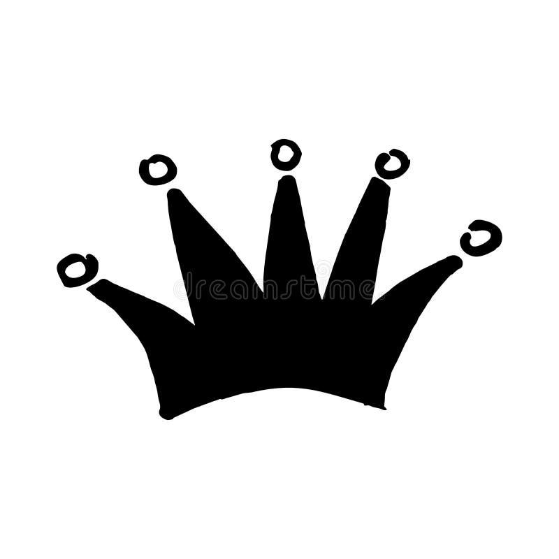 Coroa real tirada à mão ao estilo da garatuja ilustração do vetor