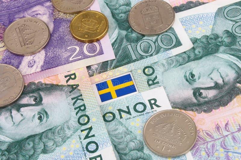 Coroas & bandeira suecos fotografia de stock royalty free