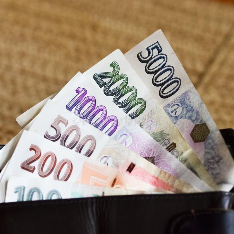 Coroas checas das cédulas na carteira foto de stock