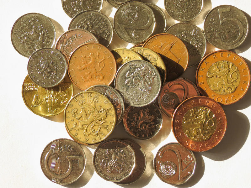 Coroas checas das moedas foto de stock