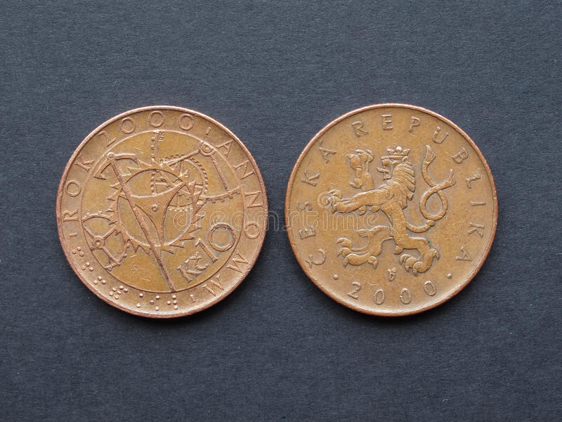 10 coroas checas de moeda fotos de stock royalty free