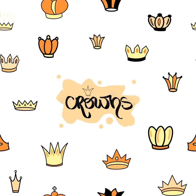 coroas Coroa amarela alaranjada de Tiara Diadem Seamless Pattern Sketch Ilustração Handdrawn do rei da rainha Coroação imperial r ilustração stock
