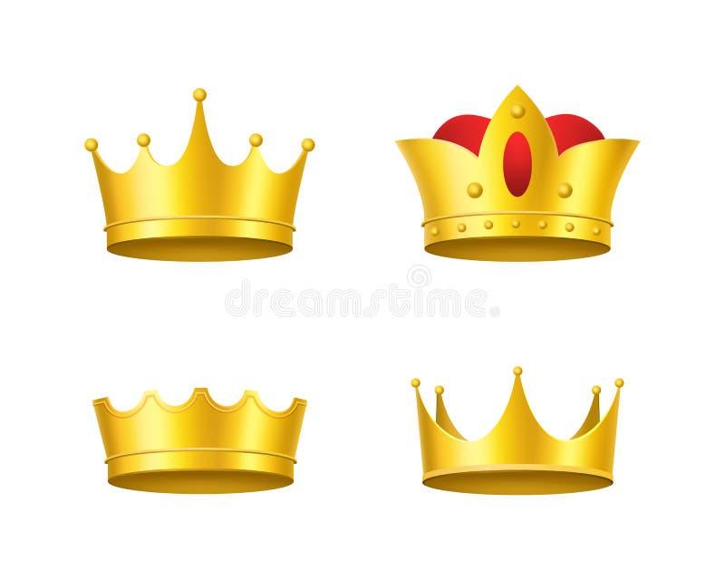 Coroas 3d douradas detalhadas realísticas ajustadas Vetor ilustração royalty free
