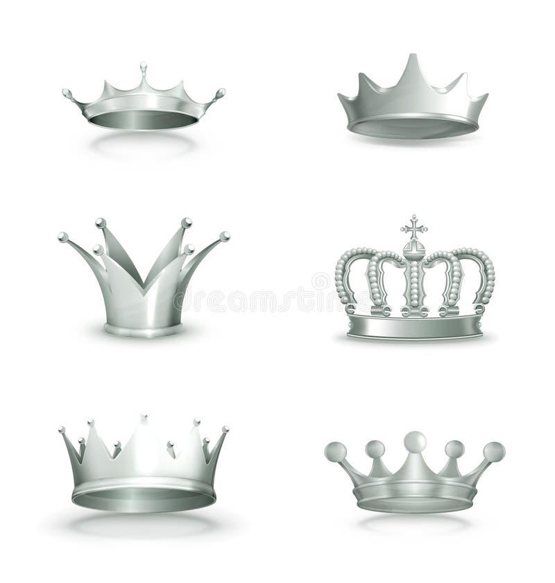 Coroas de prata, grupo ilustração stock