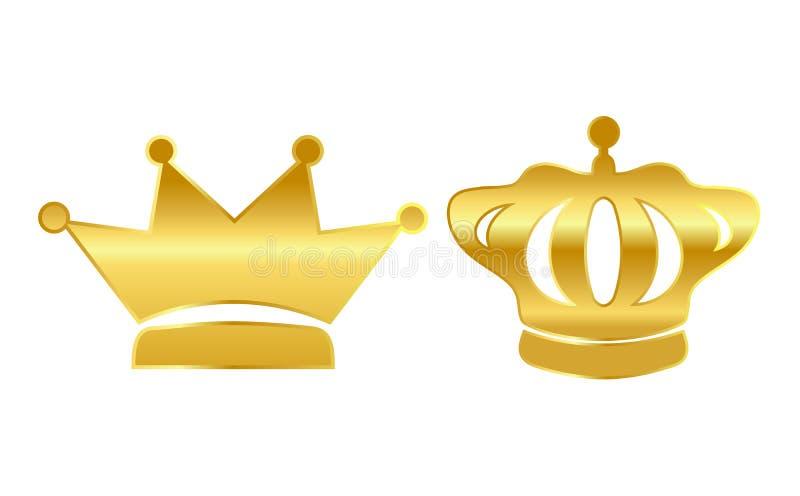 Coroas do vetor do ouro ilustração royalty free