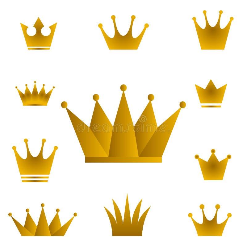 Coroas douradas - grupo de símbolos da coroa do ouro com gra dourado ilustração royalty free