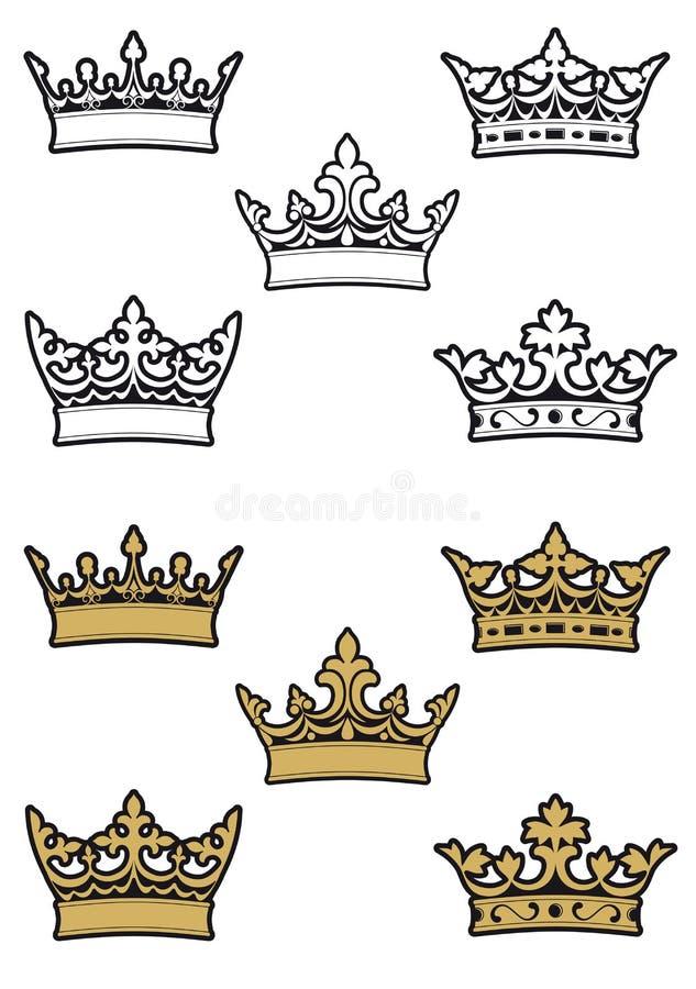 Coroas heráldicas ilustração stock