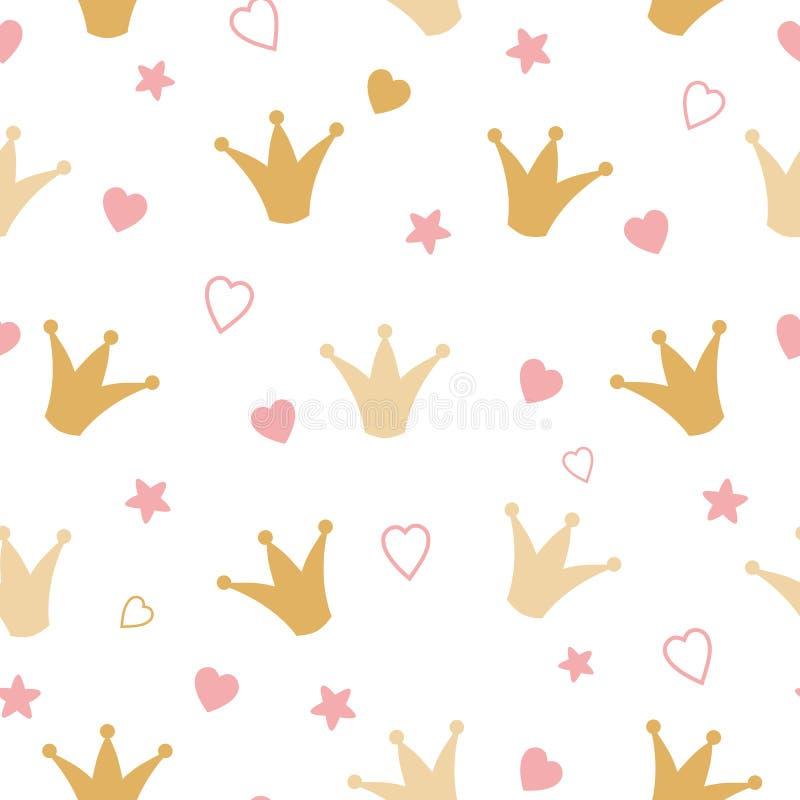 Coroas repetidas e do vetor romântico da menina do teste padrão do ouro fundo sem emenda à mão tirado corações ilustração royalty free