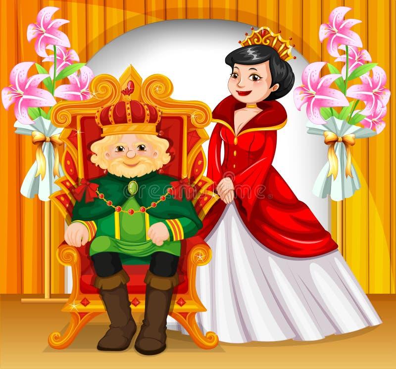 Coroas vestindo do rei e da rainha ilustração do vetor