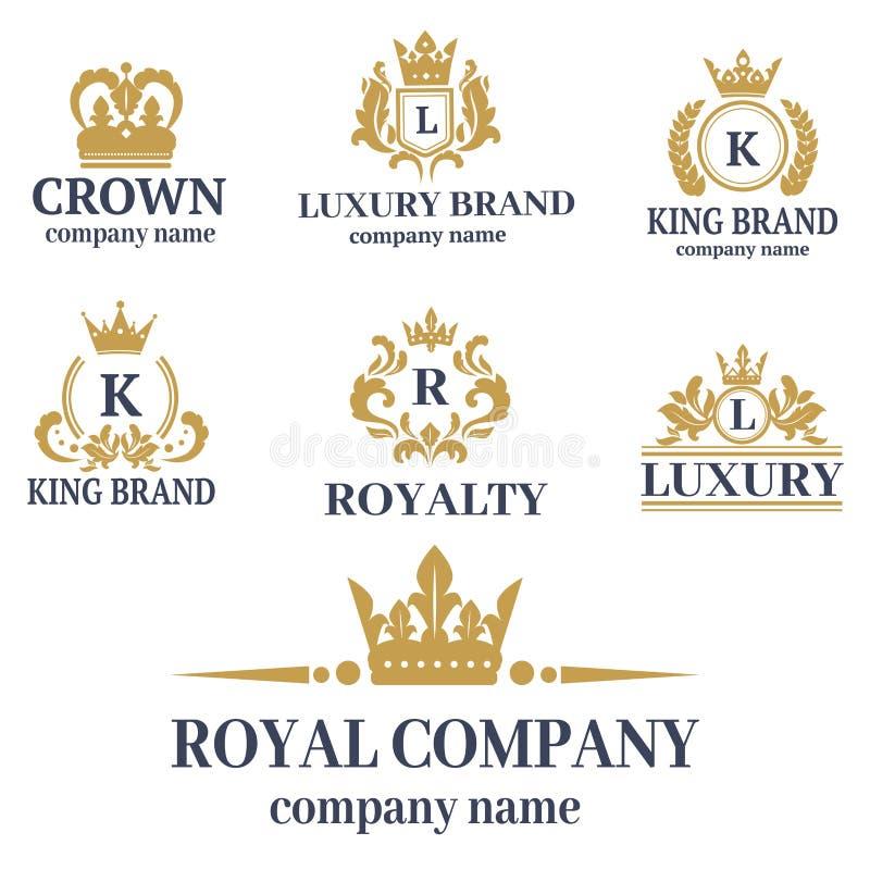Coroe do ornamento heráldico branco superior do crachá do vintage do rei o sinal luxuoso do reino ilustração stock