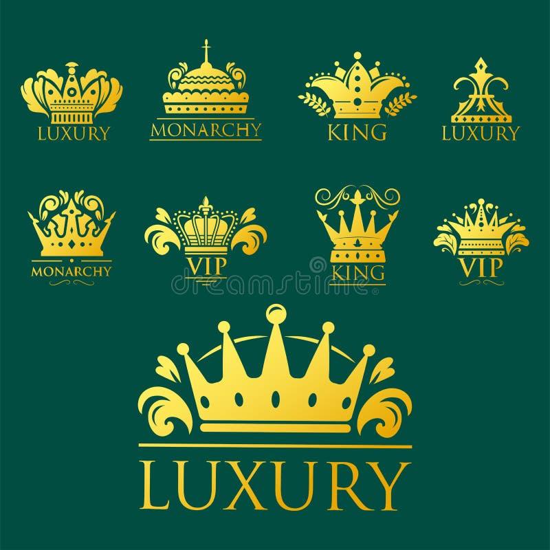 Coroe do ornamento heráldico dourado superior do crachá do vintage do rei a ilustração luxuosa do vetor do kingdomsign ilustração royalty free