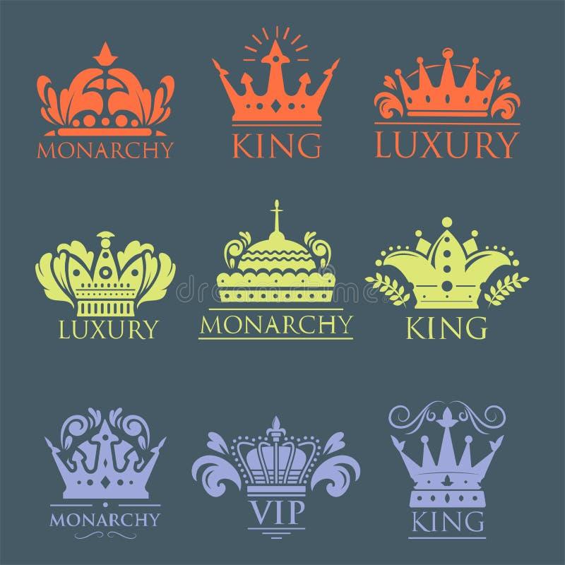 Coroe do ornamento heráldico dourado superior do crachá do vintage do rei a ilustração luxuosa do vetor do kingdomsign ilustração do vetor