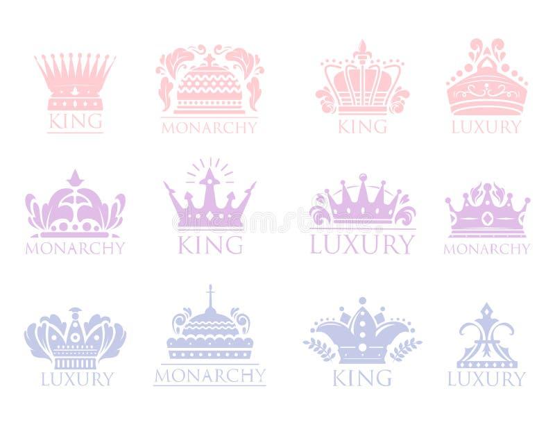 Coroe do ornamento heráldico superior do crachá do vintage do rei a ilustração luxuosa do vetor do kingdomsign ilustração royalty free