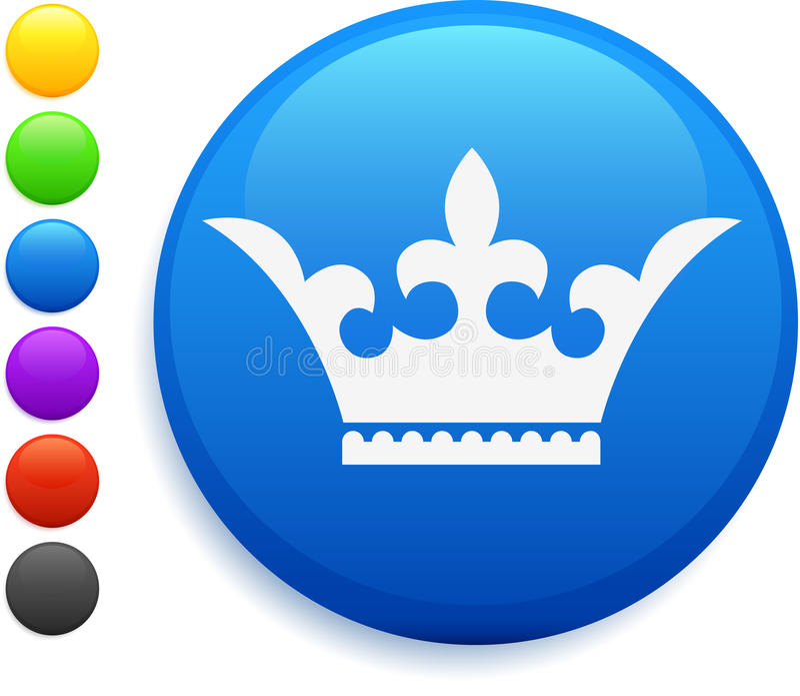 Coroe o ícone na tecla redonda do Internet ilustração royalty free