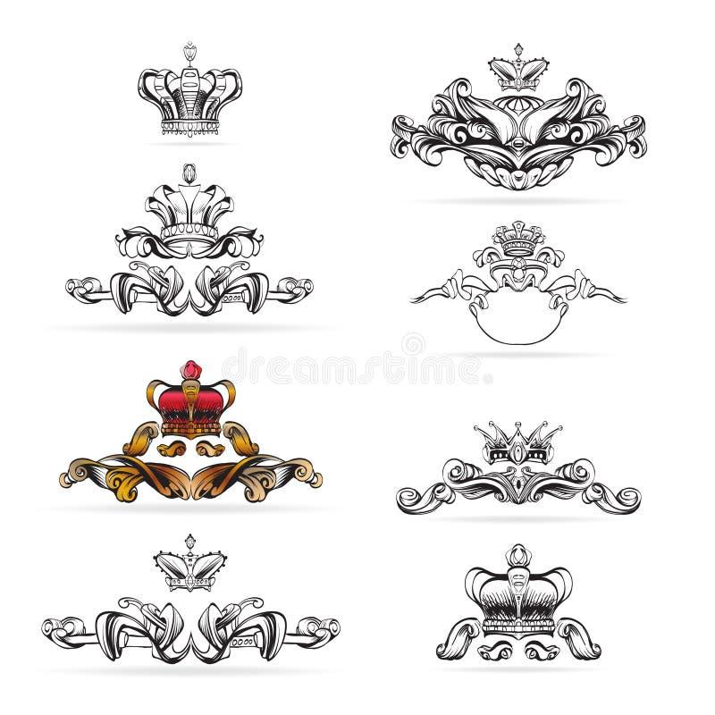 Coroe o vetor, elementos decorativos no estilo do vintage para a disposição da decoração, moldando, para o tektsta para anunciar, ilustração royalty free